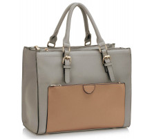 Kabelka Grey / Nude Front Pocket Grab Tote Handbag