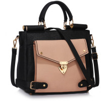 Kabelka Black / Nude Twist Lock Flap Grab Tote