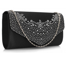 Psaníčko Black Diamante Flap Clutch purse - černé