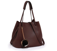 Kabelka Burgundy Hobo Bag With Faux-Fur Charm