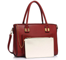 Kabelka Burgundy Tote With Removable Pouch
