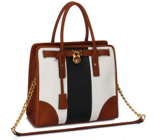 Kabelka Black /White / Brown Colour Block Tote Handbag