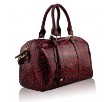 Kabelka Red Patent Animal Print Bowling Handbag