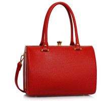 Kabelka Red Structured Metal Frame Top Handbag