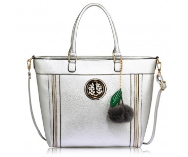 Kabelka Anna Grace Silver Tote Bag With Faux-Fur Charm