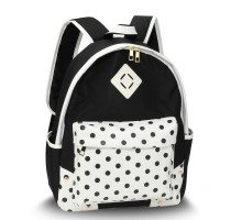 Batoh Black Polka Dot Print Backpack School Bag