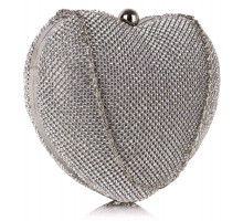 Psaníčko Silver Sparkly Crystal Diamante Heart Shaped Clutch Evening Bag