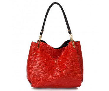 Kabelka L&S Fashion Red Snake Effect Shoulder Bag