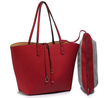 Kabelka Reversible Burgundy/Nude Large Tote Bag - Fits laptops up to 15.4''