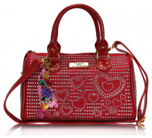 Kabelka Red Heart Diamante Tote Bag With Charm