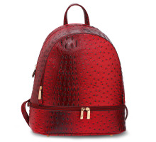 Batoh Burgundy Croc Print Backpack School Bag - vínový