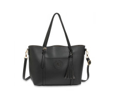 Kabelka Black Anna Grace Fashion Tote Bag With Tassel