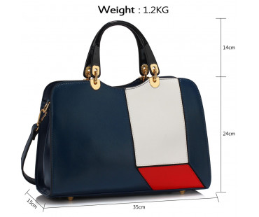 Kabelka Navy/White/Red Colour Block Patchwork Grab Bag