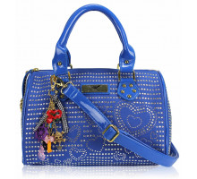 Kabelka Blue Heart Diamante Tote Bag With Charm