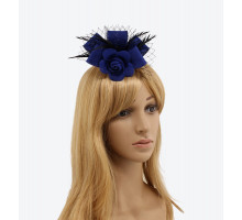 Ozdoba do vlasů Royal Blue / Black Flower Mesh Feather Fascinator