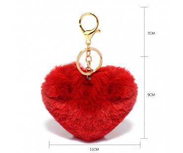 Přívěsek Burgundy Fluffy Heart Bag Charms
