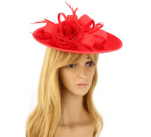 Klobouček Red Flower Mesh Hat Fascinator