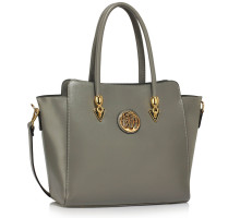 Kabelka Grey Polished Metal Shoulder Handbag - šedá