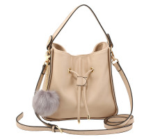 Kabelka Nude Drawstring Tote Bag With Faux-fur Bag Charm