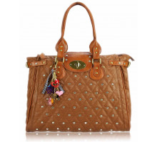 Kabelka Brown Dual Handle Tote Handbag With Crystal Decoration