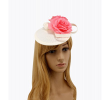 Ozdoba do vlasů Ivory / Pink Flower Mesh Feather Hat Fascinator
