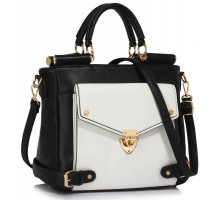 Kabelka Black / White Twist Lock Flap Grab Tote