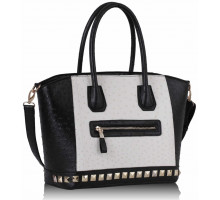 Kabelka Black / White Ostrich Pattern Studded Tote