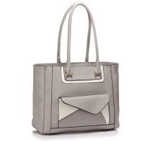 Kabelka Grey Front-pocket Tote Shoulder Bag - šedá