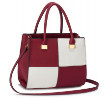 Kabelka Burgundy / White Fashion Tote Handbag