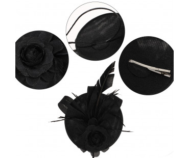 Klobouček Black Flower Mesh Feather Hat Fascinator