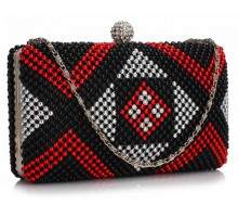 Psaníčko Black / Red Beaded Rhinestone Clutch Bag