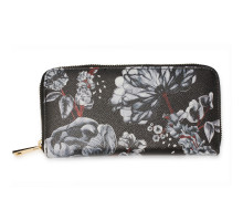 Peněženka Black / White Floral Print Zip Around Purse / Wallet