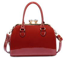 Kabelka Burgundy Patent Satchel With Metal Frame