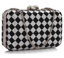 Psaníčko Gorgeous Black/White Hard Case Evening Bag