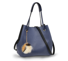 Kabelka Black / Blue Hobo Bag With Faux-Fur & Tassel Charm