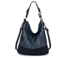 Kabelka Anna Grace Navy Hobo Bag With Black Metal Work