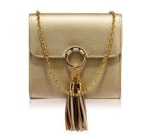 Kabelka Gold Flap Clutch Purse With Tassel