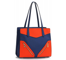 Kabelka Blue / Orange Buckle Detail Shoulder Bag