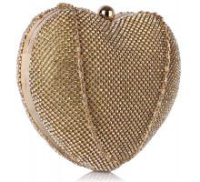 Psaníčko Gold Sparkly Crystal Diamante Heart Shaped Clutch Evening Bag