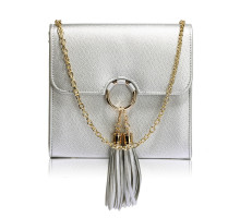 Kabelka Silver Flap Clutch Purse With Tassel