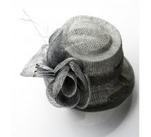 Klobouček Light Grey Mesh Hat Feather Fascinator