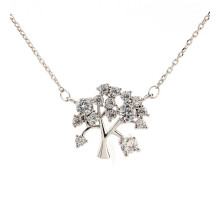 Náhrdelník Sparkling Silver Plated Crystal Tree Necklace