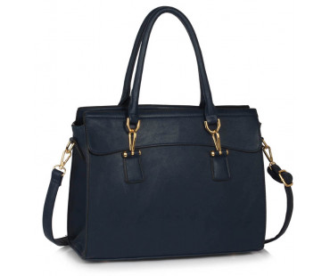 Kabelka Navy Women's Tote Bag With Polished Hardware