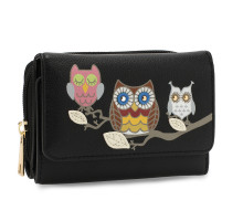 Peněženka Black Flap Owl Design Purse / Wallet