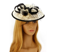 Klobouček Ivory / Black Flower Mesh Hat Fascinator