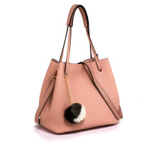 Kabelka Pink Hobo Bag With Faux-Fur Charm