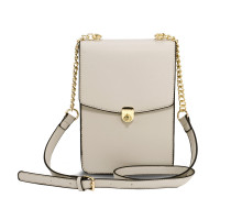 Kabelka Beige Flap Twist Lock Cross Body Bag
