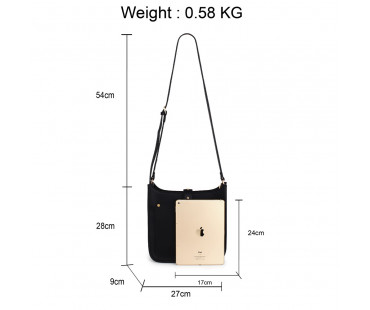 Kabelka Black Fashion Cross Body Shoulder Bag - černá
