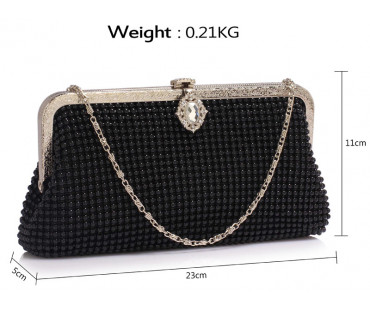 Psaníčko Black Beaded Crystal Clutch Bag