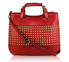 Kabelka Red Ladies Fashion Studded Tote Handbag - červená